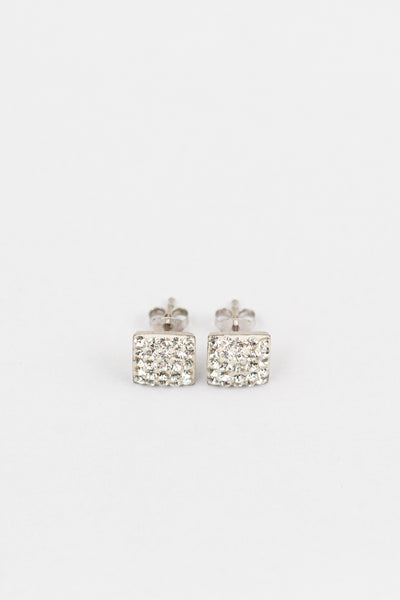 Crystal Square Pave Stud Sterling Silver Earrings | Annie and Sisters | sister stud earrings, for kids, children's jewelry, kid's jewelry, best friend