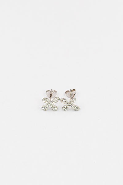 Clear Crystal Mini Cross Sterling Silver Earrings | Annie and Sisters