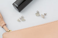 Crystal Triangle Pave Stud Sterling Silver Earrings | Annie and Sisters | sister stud earrings, for kids, children's jewelry, kid's jewelry, best friend