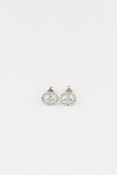 Clear Crystal Peace Sign Sterling Silver Earrings | Annie and Sisters