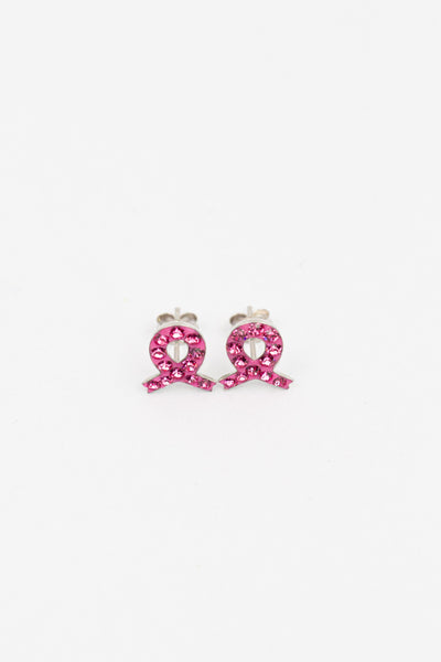 Breast Cancer Pink Ribbon Pave Crystals Silver Stud Earrings | sister stud earrings, for kids, children's jewelry, kid's jewelry, best friend