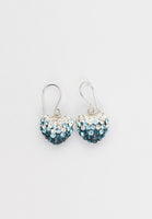 Aquamarine Crystal Pave Ombre Heart Dangling Silver Earring Annie and Sisters