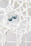 Crystal Pave Ombre Heart Dangling Silver Earring in Aquamarine | Annie and Sisters