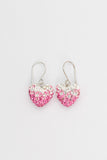 Crystal Pave Ombre Heart Dangling Silver Earring in Rose Pink | Annie and Sisters