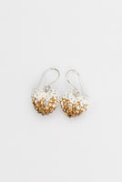 Crystal Pave Ombre Heart Dangling Silver Earring in Smokey Topaz | Annie and Sisters