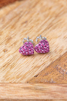 Heart Pave Crystal Silver Stud Earrings in Rose Pink | Annie and Sisters | sister stud earrings, for kids, children's jewelry, kid's jewelry, best friend