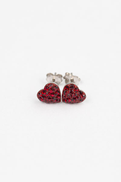 Heart Pave Crystal Silver Stud Earrings in Dark Siam Red | Annie and Sisters | sister stud earrings, for kids, children's jewelry, kid's jewelry, best friend