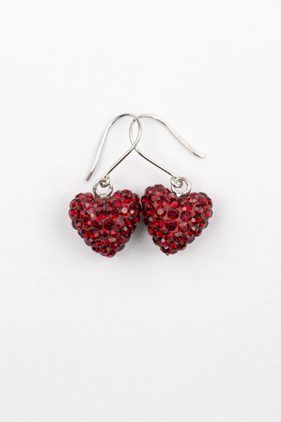 Mini All Over Crystal Pave Heart Silver Earrings in Siam Red| Annie and Sisters