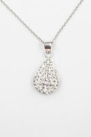 Swarovski Crystal Round Teardrop Silver Necklace in Clear | Annie and Sisters