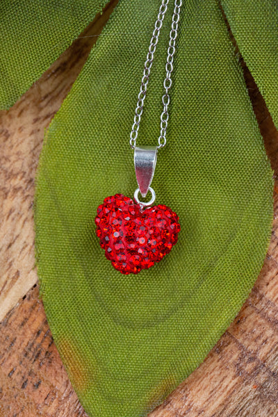 Crystal Pave Heart Sterling Silver Necklace in Light Siam Red | Annie and Sisters