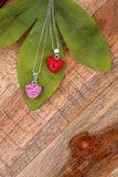 Crystal Pave Heart Sterling Silver Necklace in Rose Pink and Light Siam Red | Annie and Sisters