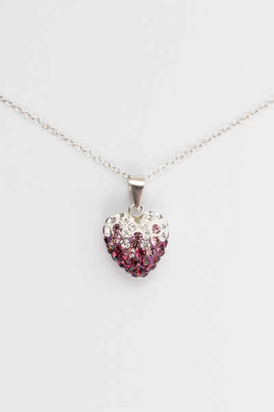 Ombre Heart Pattern Silver Crystal Necklace in Amethyst | Annie and Sisters