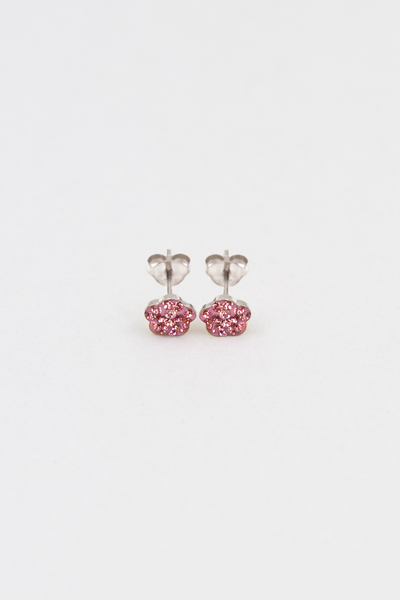 Mini Pink Plum Blossom Crystal Silver Stud Earrings | Annie and Sisters