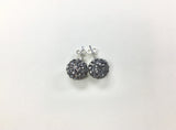 10mm Disco Ball Crystals Silver Earrings in Black Diamond Grey | Annie and Sisters | sister stud earrings, for kids, children's jewelry, kids jewelry, best friend