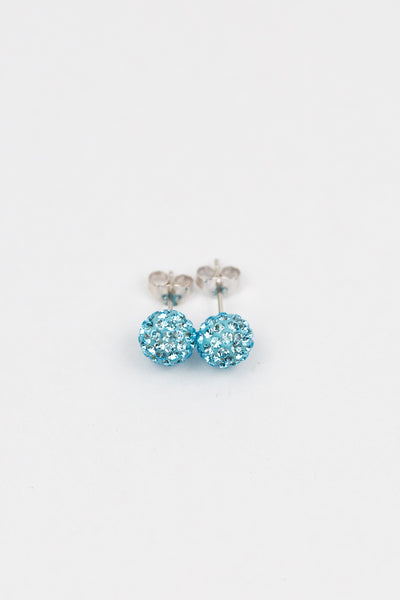 8mm Disco Ball Stud Earrings in Aquamarine | Annie and Sisters | sister stud earrings, for kids, children's jewelry, kid's jewelry, best friend