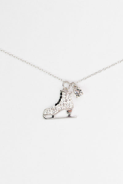 Clear Crystal Ice-Skating Sterling Silver Pendant Necklace | Annie and Sisters