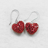 Swarovski Crystal Pave Heart Silver Earrings in Light Siam Red | Annie and Sisters