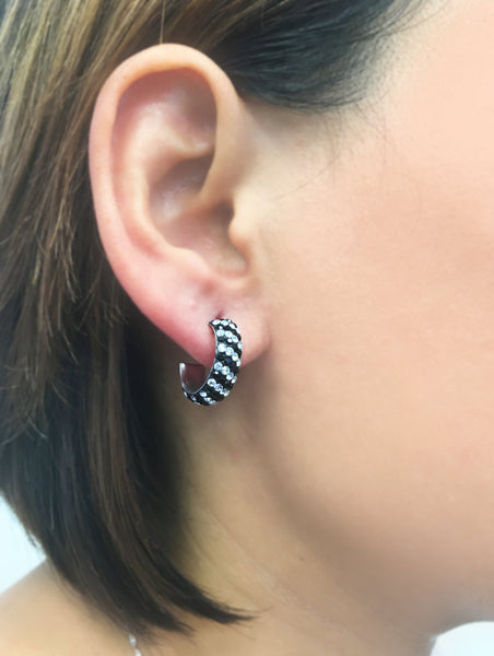 "3/4"" Black And White Zebra Striped Swarovski Crystal Hoop Earrings 