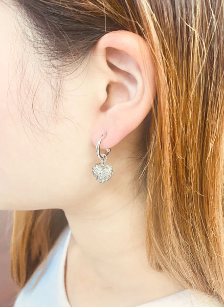 Charcoal Gray Swarovski Crystal Heart Earrings | Annie and Sisters