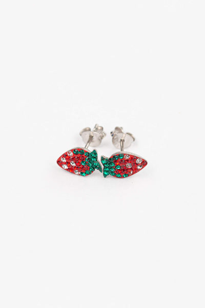 Strawberry Crystal Stud Earrings | Annie and Sisters | sister stud earrings, for kids, children's jewelry, kid's jewelry, best friend