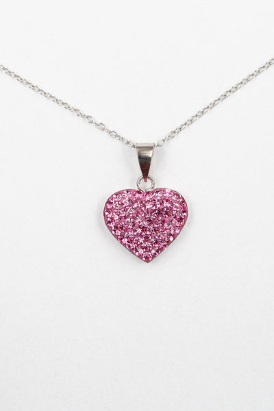 Crystal Heart Sterling Silver Necklace in Rose Pink | Annie and Sisters