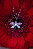 Light Pink Crystal Dragonfly Silver Necklace | Annie and Sisters