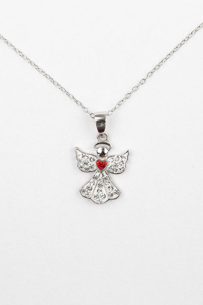 Clear Crystal Angel With Red Heart Silver Necklace | Annie and Sisters
