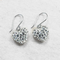 Swarovski Crystal Pave Heart Silver Earrings in Clear | Annie and Sisters