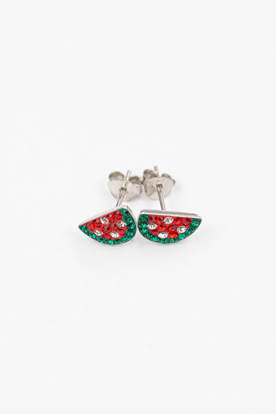 Watermelon Crystal Stud Earrings | sister stud earrings, for kids, children's jewelry, kid's jewelry, best friend
