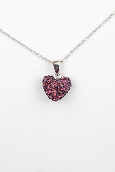 Crystal Pave Heart Sterling Silver Necklace in Amethyst | Annie and Sisters