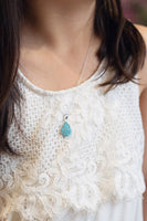 Swarovski Crystal Round Teardrop Silver Necklace in Aquamarine | Annie and Sisters