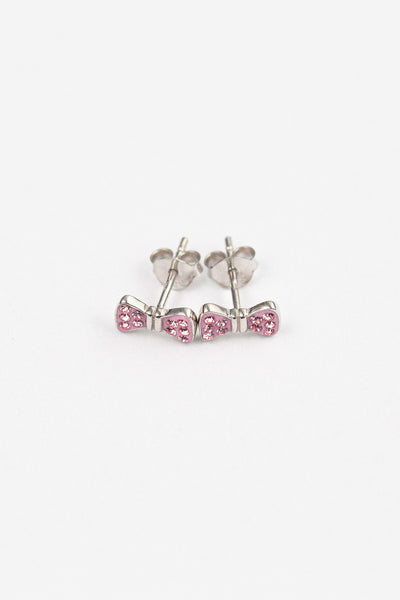 Bow Crystal Silver Stud Earrings in Light Pink | Annie and Sisters | sister stud earrings, for kids, children's jewelry, kid's jewelry, best friend