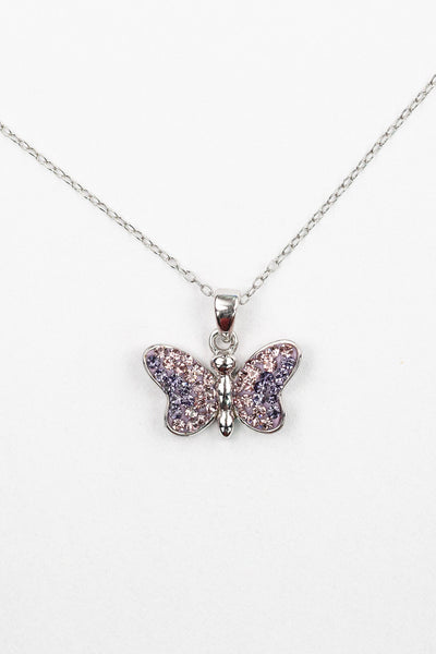 Light Amethyst Crystal Butterfly Silver Necklace | Annie and Sisters