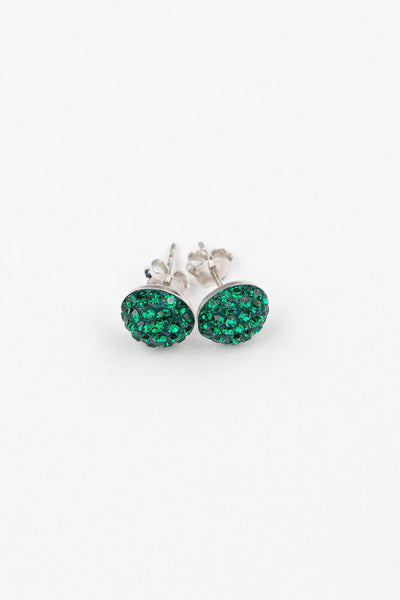 9mm Round Swarovski Crystal Sterling Silver Earring in Emerald | Annie and Sisters | sister stud earrings, for kids, children's jewelry, kid's jewelry, best friend