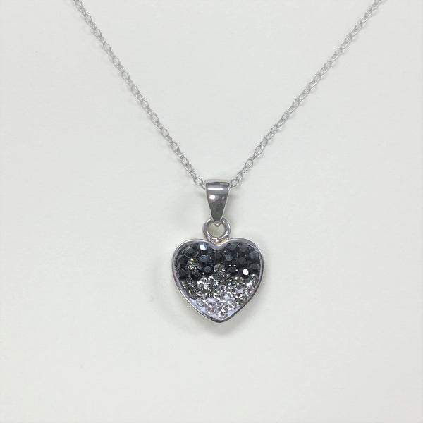 Black Ombre Crystal Heart Necklace | Annie and Sisters