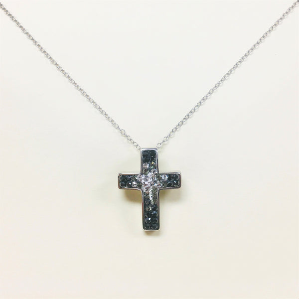 Ombre Crystal Cross Silver Necklace in Jet Black | Annie and Sisters