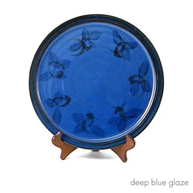 fish plate deep blue glaze