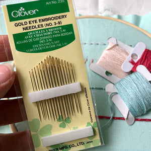 Clover Gold Eye Embroidery Needles No. 3-9