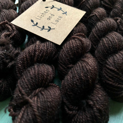 80/20 Sock Mini Yarn, Black Walnut, Lichen and Lace