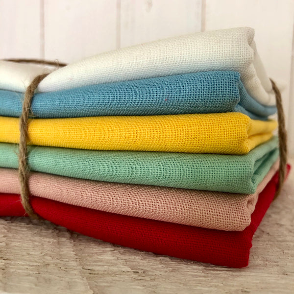 Summer in a Bundle! Fat Quarter 6 Pack Bundle, Essex Linen, Robert Kaufman