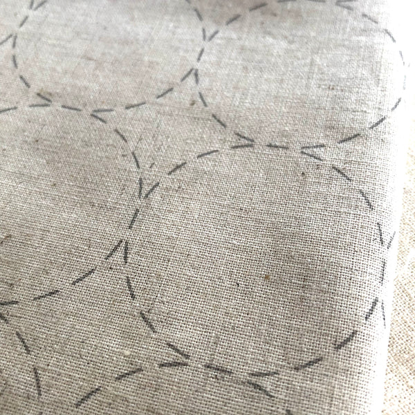 Lecien Cosmo Sashiko Pre-printed Wash-away Panel, Cotton/Linen Blend, Maru-Tsunagi Circle Pattern, Natural