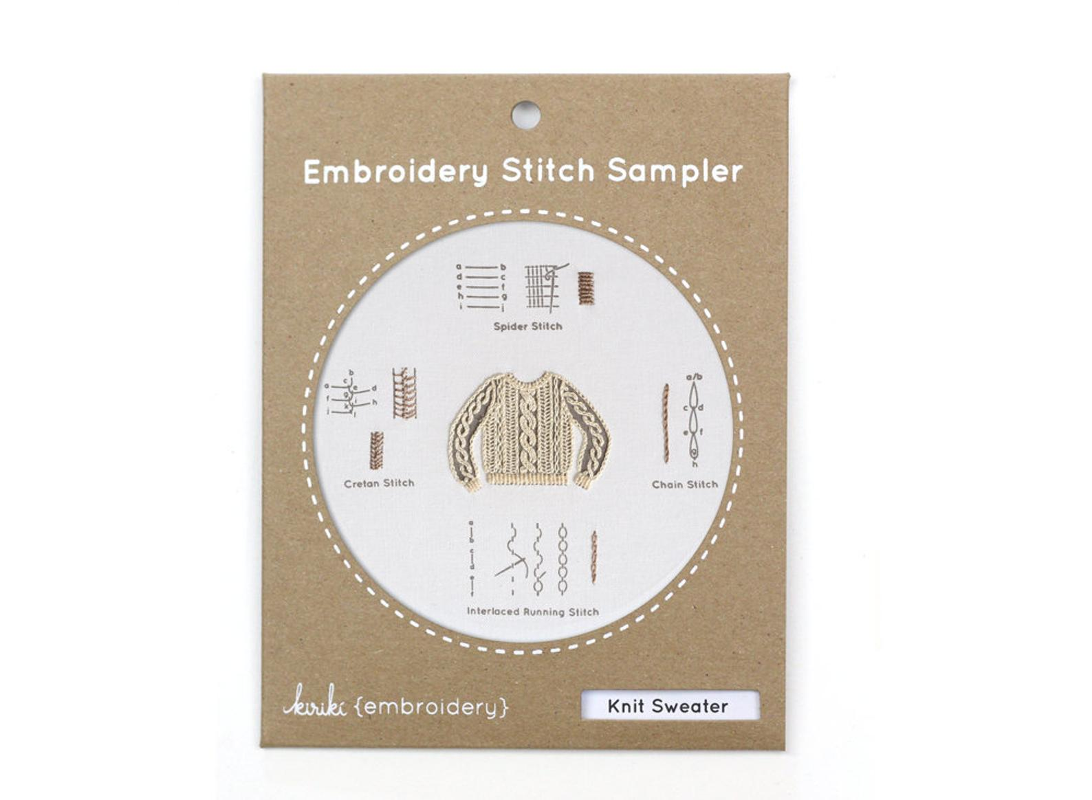 Kiriki Press Embroidery Stitch Sampler, Knit Sweater