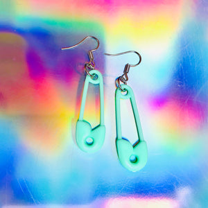 pastel safety pin earrings