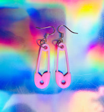 Load image into Gallery viewer, pastel safety pin earrings