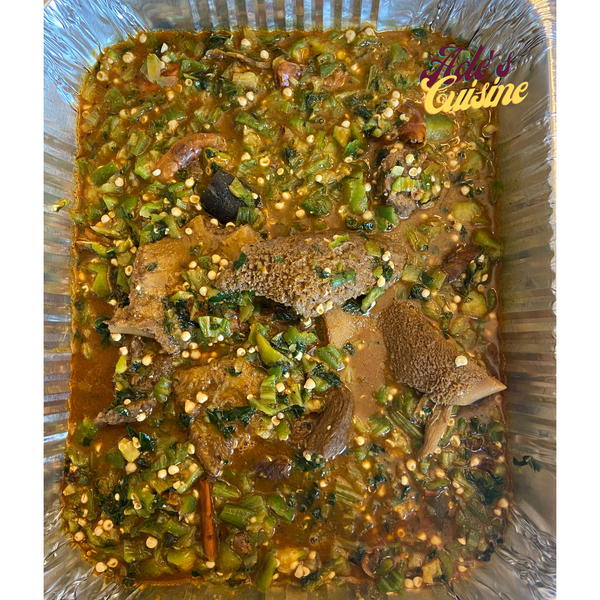 Ila Alasepo (stewed okra soup) with Swallow
