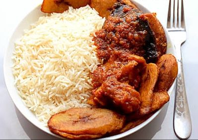White Rice and Stew w/ Plantain and Choice of Protein