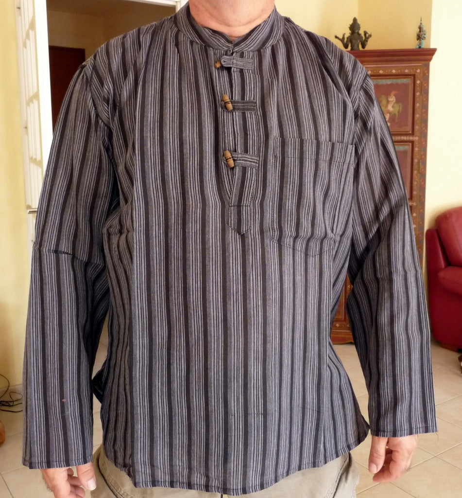 Chemise kurta manches longues boutons bois Taille XL