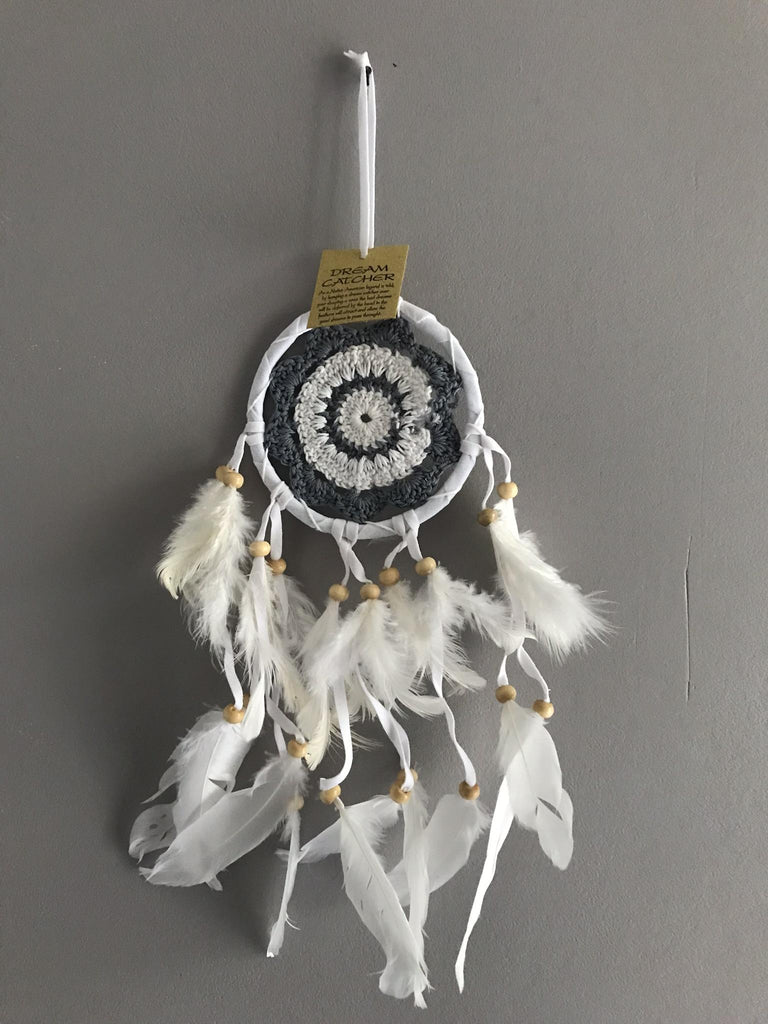 Attrape rêves - Dream Catcher- crochet gris et blanc
