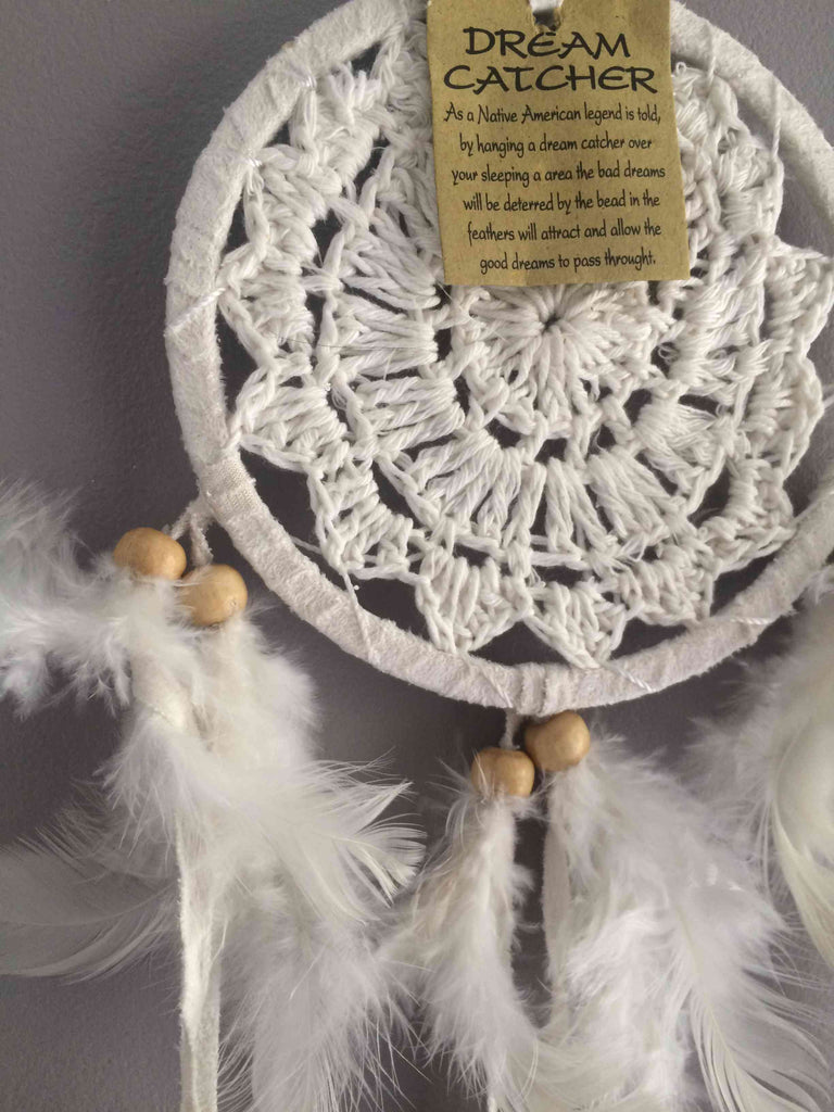 Attrape rêves - Dream Catcher- Simple rond en Banbou Et Crochet Blanc