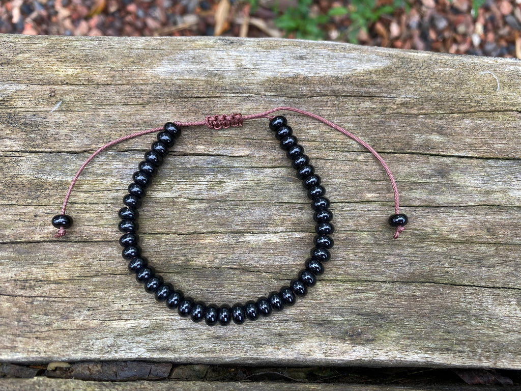Bracelet ajustable, perles Onyx naturel